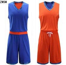 a44b8c4ed6 ZMSM Homens Basketball Jerseys Impresso borda Conjunto De Basquete  Reversível Esportes Secagem rápida roupas Camisa De