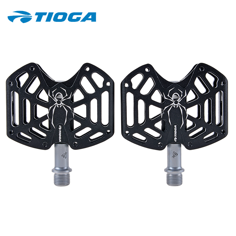 ФОТО TIOGA Bicycle Parts Spider Design Bike Pedals Cycling Ultralight 6061-T6 CNC Alloy Body Pedals L90 x W58 x H19mm Black/White