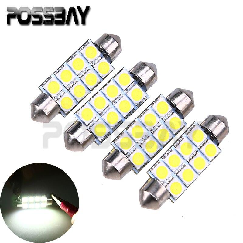 Truck Light Bulbs: Universal 4 Pieces 5050 41MM 8SMD Car Interior Reading Dome Festoon LED Light  Bulbs Lamp White DC12V Car Truck SUV Styling,Lighting