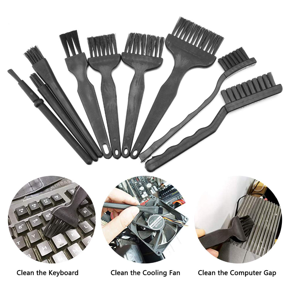 9pcs Anti Static Brushes Kit For Cleaning Keyboard Computer Cell Phone Lab PCB Cleaning Tool,Plastic Keyboard Cleaner Brush