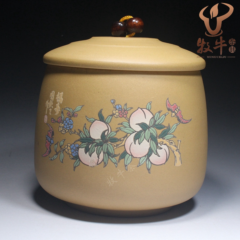Tea can do big small sketch Zisha tea jar Peach-Shaped Mantou tea storage tank to undertake customized gifts LOGO haw slice tea fresh premium hawthorn dry film big tank 220g tea flowers