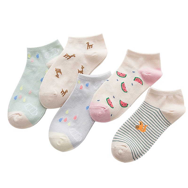 Women's Short Socks Watermelon Color Female Low Cut Ankle Sock Summer Spring Girl Simple Fruit Cotton Sock Animal Cartoon Socks