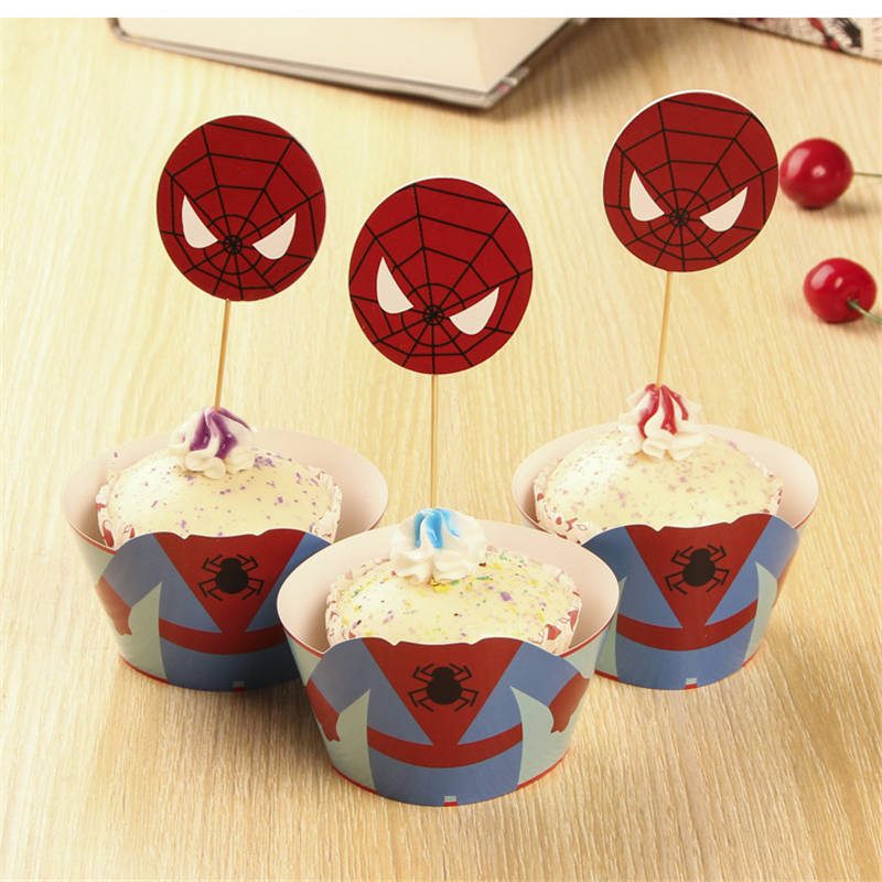 ᓂ24pcs Spiderman Party Paper Cupcake wrappers toppers for kids ...
