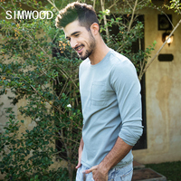 SIMWOOD 2018 Spring New Long Sleeve T Shirt Men Solid Color Pocket High Quality Tops Male