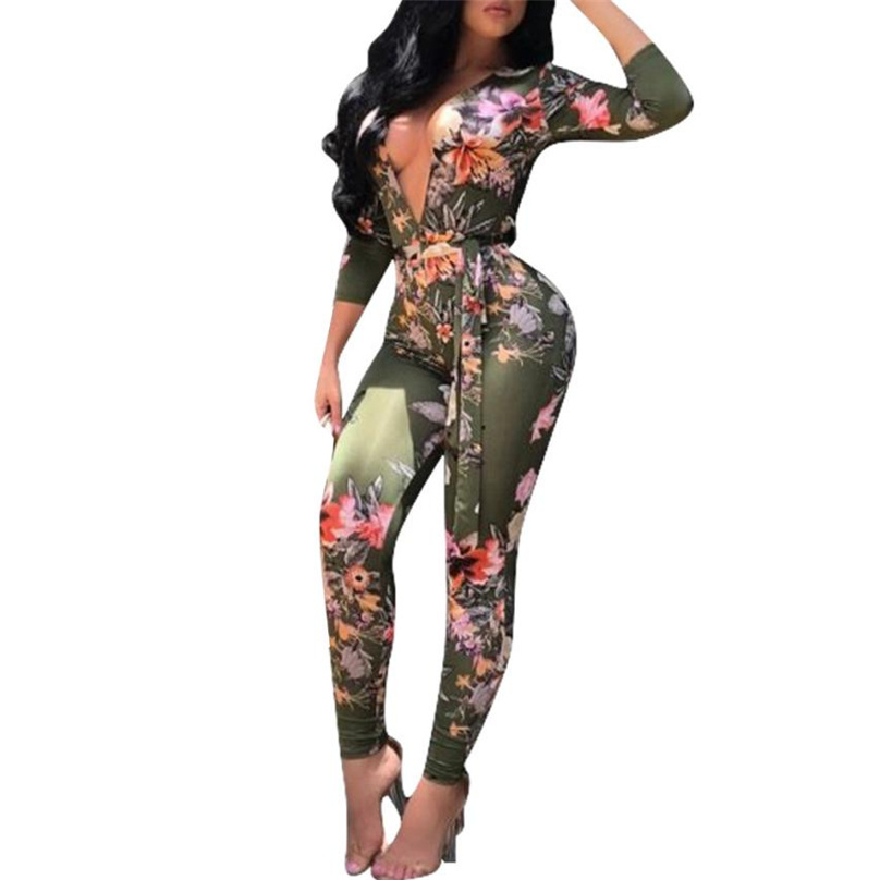 Casual New Style 2017 Flower Print Romper Playsuit Deep V-neck Long Sleeve Bodycon Polyester Green Rompers Womens Jumpsuit Ff&r4 Rapid Heat Dissipation