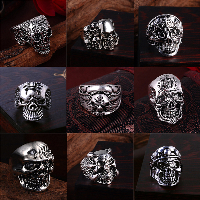 2018 Punk Vintage Trend Men's Ring Gothic Mens Skull Flower Biker Zinc Alloy Ring Men Jewelry Fashion Rings Gift Drop Shipping