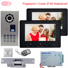 7″ Video Door Phone Intercom Doorbell Home Security  1 Camera 2 Monitors IP65 Waterproof Fingerprint System Unit + Electric Lock