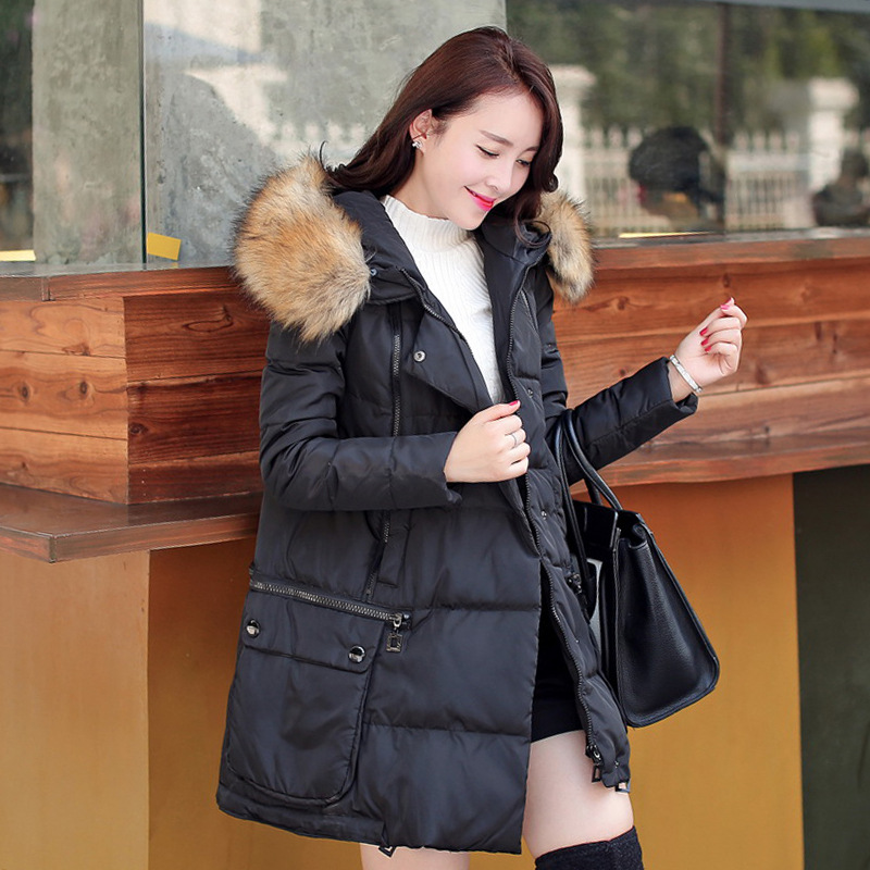 ФОТО Mozhini Winter Jacket Women Long White Duck Plus Size Parka Ladies Hooded Warm Outerwear Cotton Padded Down & Parkas