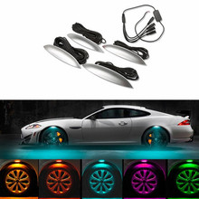 4pc Flash Car wheel Eyebrow Lights 3 Mode Exterior ambience lights Atmosphere Lamps Universal Tyre Wheel  LED Car-styling