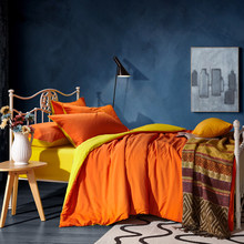 Modern Style Bedding Sets 4 pcs Bed Duvet Cover Bed Sheet Pillowcase Orange Solid Color AB Side Blue Green(China)