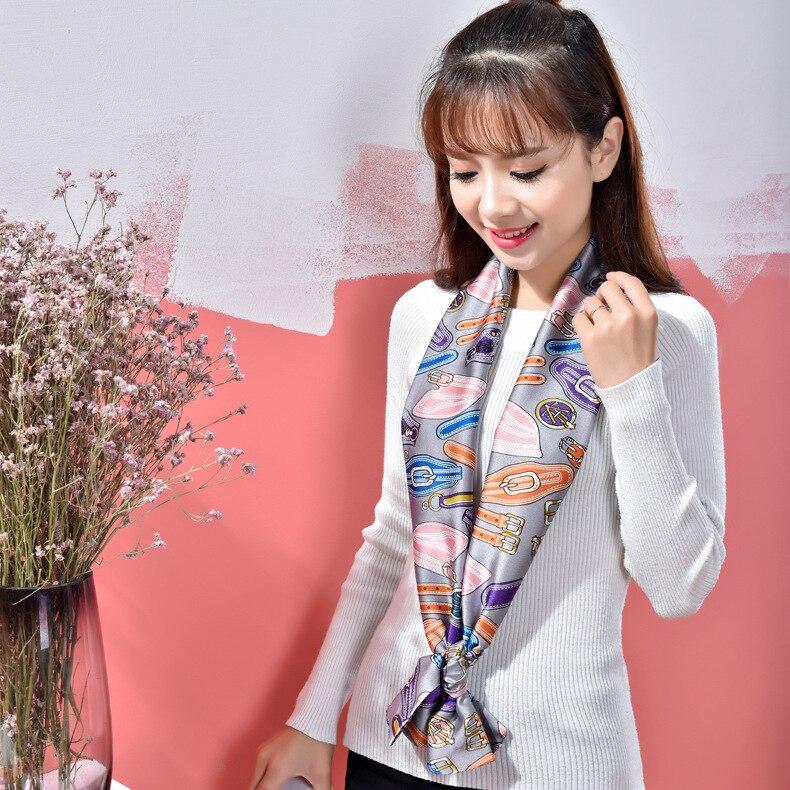2017 new arrival silk scarf 17cm*145cm Summer Scarves women luxury brand scarf shawl  hijab