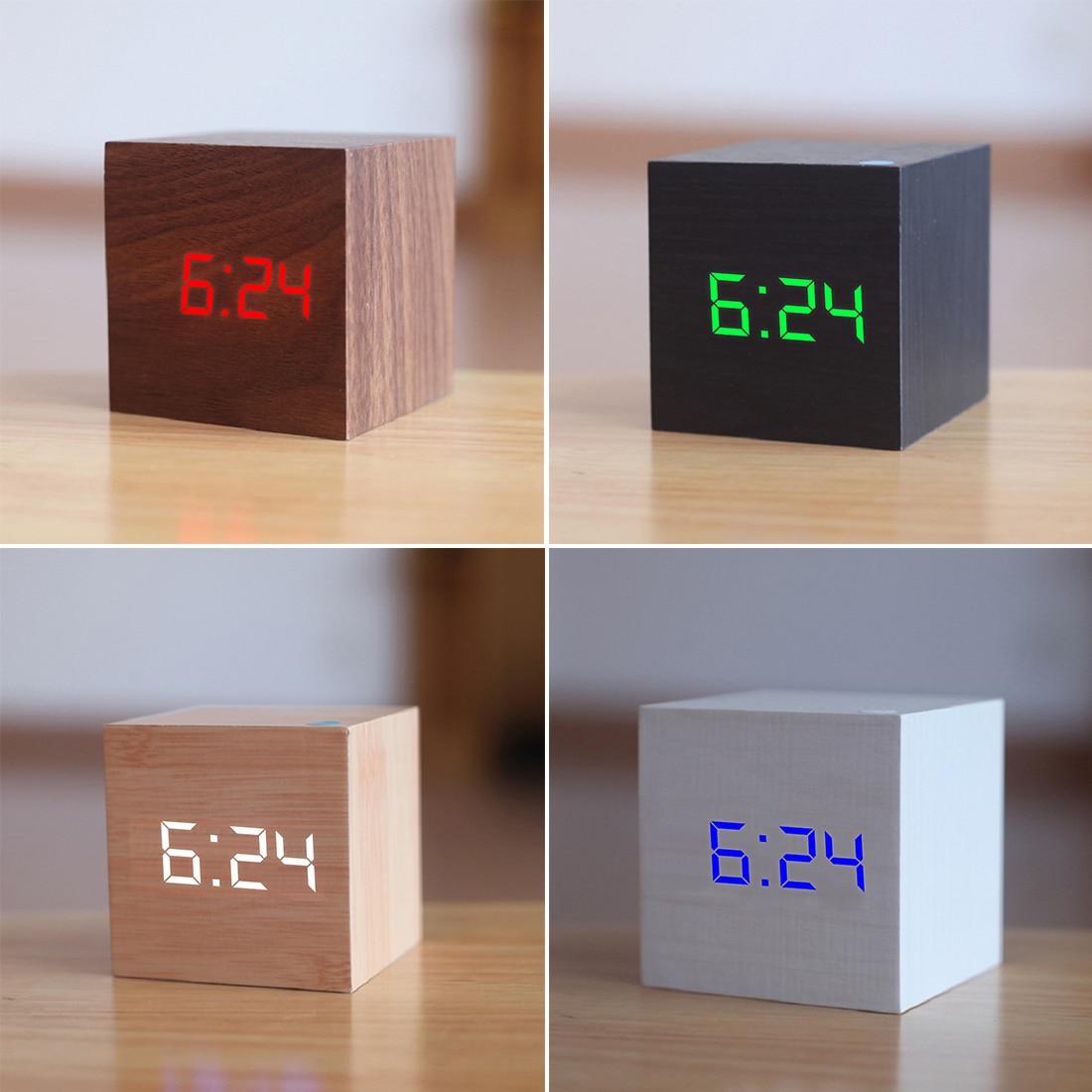 Multicolor Klingt Steuer Holz Digitale Uhr Holz LED Schreibtisch Wecker Thermometer Timer Kalender Tabelle Decor