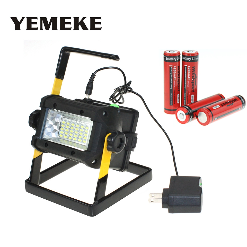 Rechargeable Floodlights 36 LED Flood Light Lamp for Outdoor Camping Work Light with AC Charger and 4*18650 Batteries