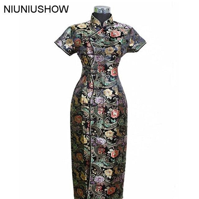 Black New Traditional Chinese Dress Women's Satin Long Cheongsam Qipao Clothings Flower S M L XL XXL XXXL J0024