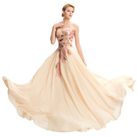 elegant Celebrity Party Satin Chiffon a line Dress slash neck Strapless slash neck Sequin peacock embroidery Luxurious vestidos