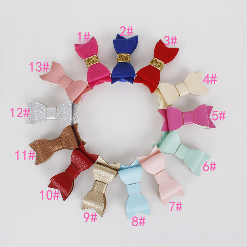 New Girls Hair font b Accessories b font Candy Metal Color pink blue red Dot Bow
