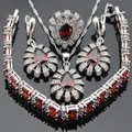 Red Created Garnet White CZ Silver Color Jewelry Sets For Women Drop Earrings Bracelet Rings Necklace Pendant Free Gift Box