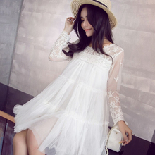 2016 New O Neck Full Sleeve Solid font b Maternity b font Dresses Fashion Casual Lace