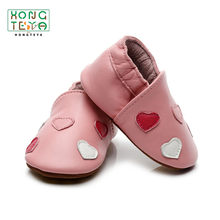 Pink Heart Baby Boys Girls Shoes Infant Genuine Leather Casual Moccasins Firstwalkers Soft Soled Non-slip Footwear Crib Shoes(China)
