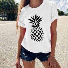 2019 7 Colors Loose Women O-Neck Casual Short Sleeve Tee Summer Pineapple Print T-Shirt Vestidos