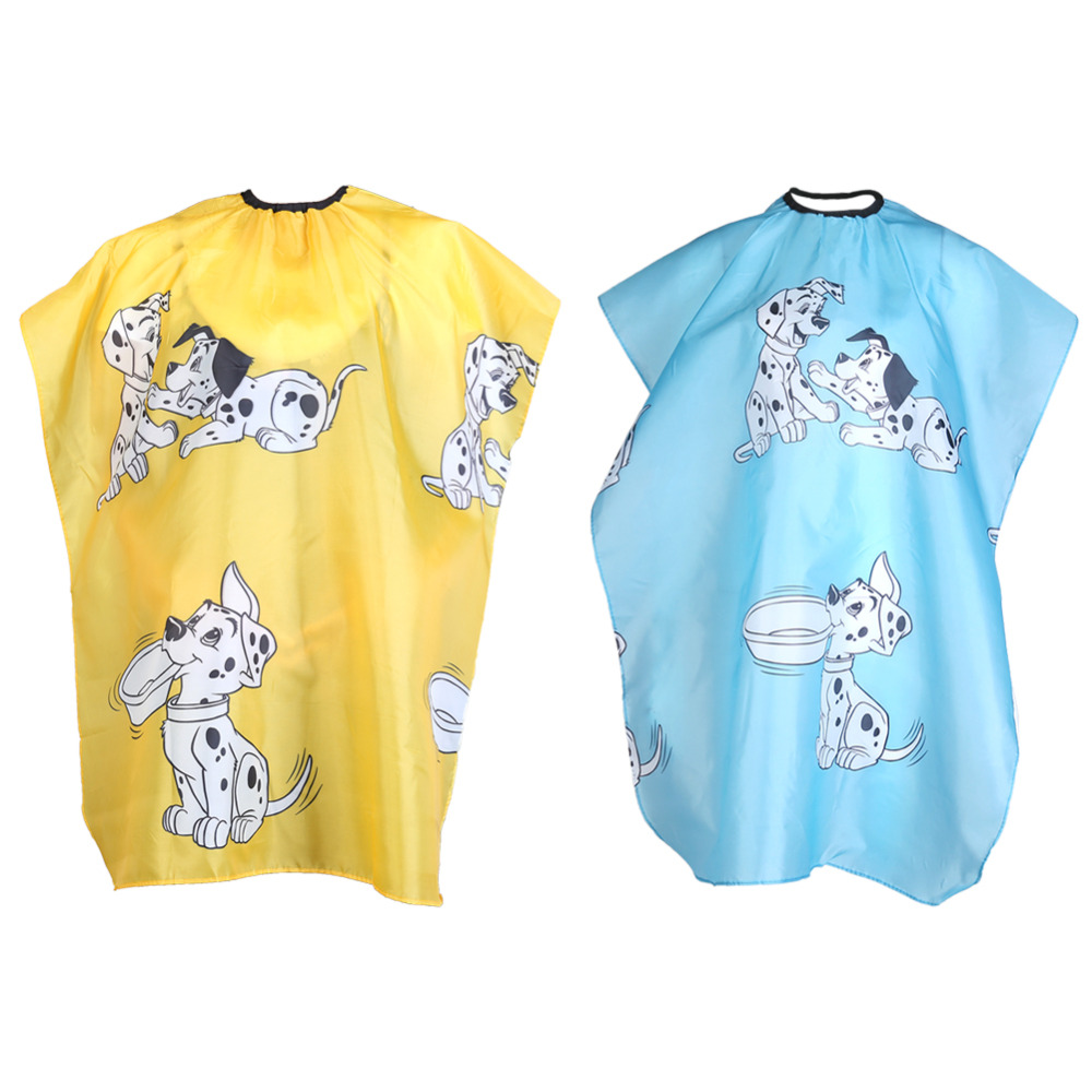 1pcs Yellow/Blue Cartoon Dog Kids Hairdressing Cape Clothes Salon Hairstyle Cover Barber Hairdresser Waterproof Hair Cut Cloth