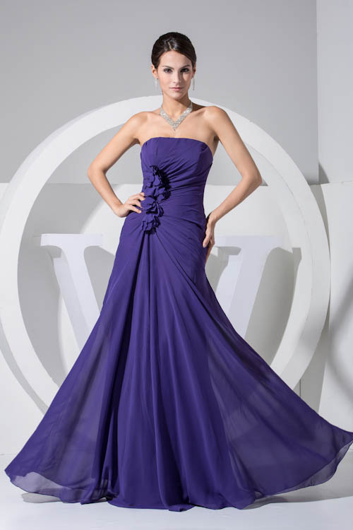 New Fashion Purple Sleeveless Flower Chiffon Long   Bridesmaid     Dresses   Sexy Strapless Backless Wedding Party   Dresses   with Zipper