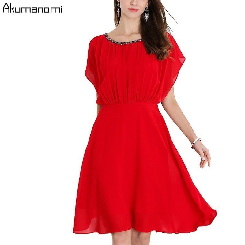 Summer Diamonds Chiffon Dress Women Clothing O neck Batwing Short Sleeve Dress High Quality Plus Size