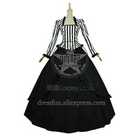Civil War Victorian Black White Stripes Reenactment Stage Lolita Dress Costume With Beautiful Ruffles Decorated Grace For Party