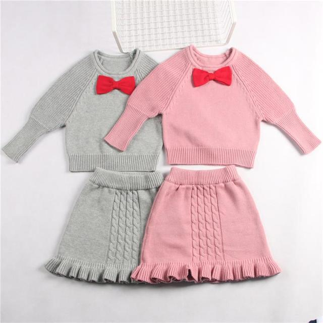 Girls Cotton Knitted Sweater Dress Baby Girl Pattern Outerwear Kids Long Sleeve Outfit Infant Toddler