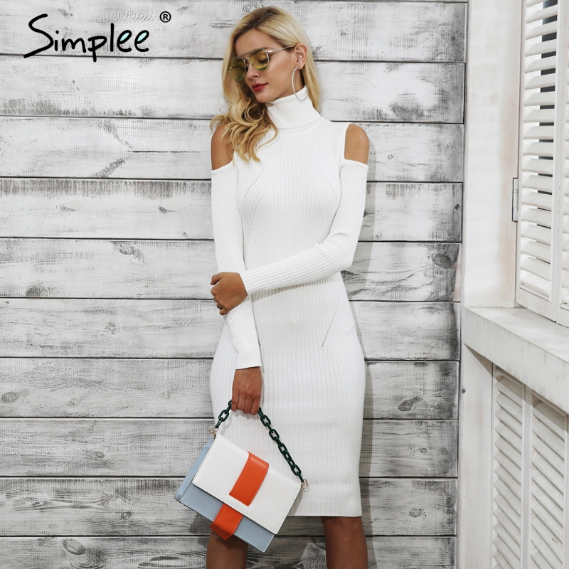 Simplee Cold shoulder turtleneck knitting winter dress women Casual pull femme knitted dress Autumn wine red party dress female readit knitting dress 2017 winter woman dress dark blue wine red knitted dress calf length hollow out bottom casual dress d2558