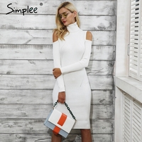 Simplee Cold Shoulder Turtleneck Knitting Winter Dress Women Casual Pull Femme Knitted Dress Autumn Wine Red