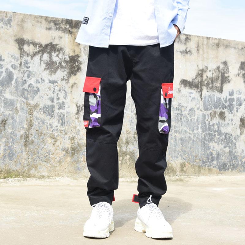 Color Moda Pantalones grey Botín Skateboard Los Streetwear Estilo Hop Militar Púrpura Camuflaje Algodón black Hip Hombres Sudadera De yellow Purple fq5RwS