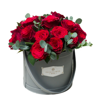 New Arrival Luxury Round Flower Box Florist Supplies Leather Flower Gift Box with Handle