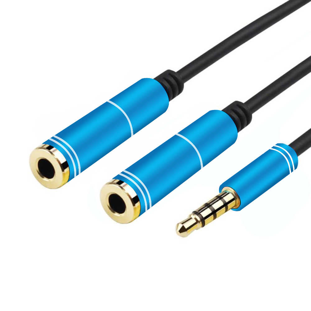 Wtyczka do kabla audio 3.5mm męski na 2 kobiece słuchawki przejściówka rozgałęziająca do samochodu tablet z funkcją telefonu MP3 z głośników do przedłużacz kabla aux
