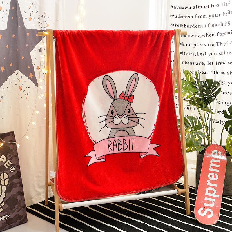 Dessin animé rouge lapin motif velours peluche jeter couverture pour enfants filles Sherpa couverture pour canapé mince couette doux maison Textile chaud