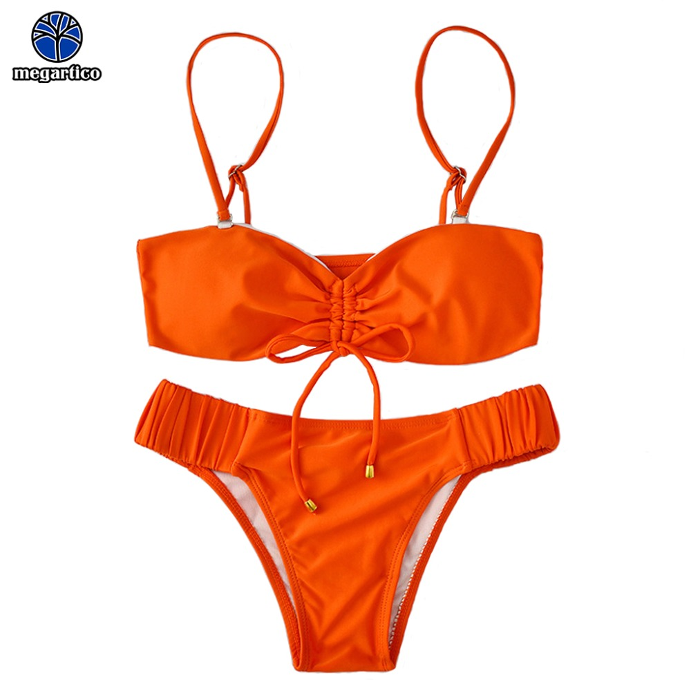 women swim wear Lace Up Bikini high quality biquinis brasileiros feminino 2019 ladies orange swim suit elastic bikini beachwear 1