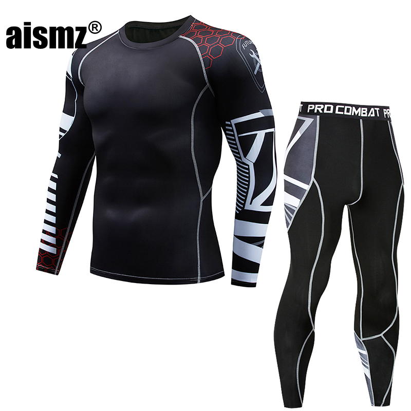Aismz tactical mma rashguard long sleeves Mens fitness set compression clothing tracksuit men Moletom Masculino 2 Pieces Sets
