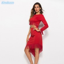 2018 New Spring Sexy Elegant Dress Women Clothing Casual O-Neck High Waist White Red Dresses Sheath Irregular Summer