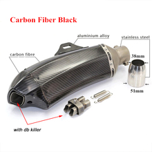 Motorcycle Exhaust Muffler Pipe With Removable DB Killer Link 51mm Real carbon fiber Silencer System