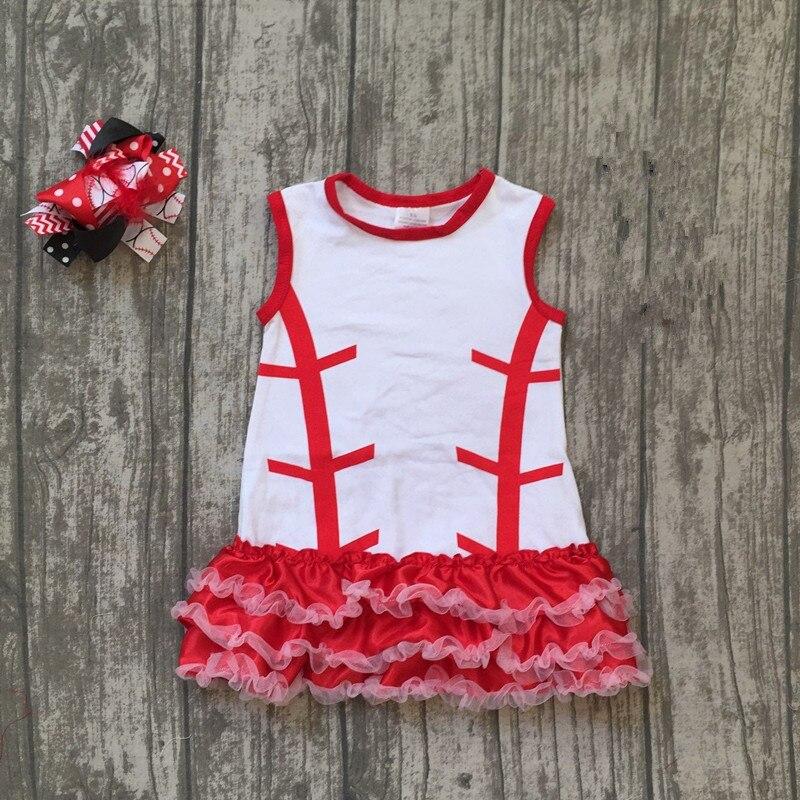 baby girl baseball dress girls boutique summer dress children kids baseball dress with ruffle kids dress with matching bows
