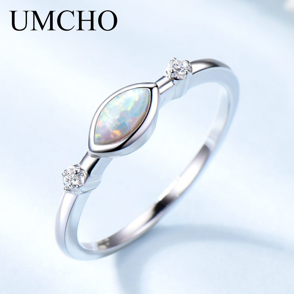 UMCHO White Fire Opal Rings For Women Solid 925 Sterling Silver Gemstone Romantic Engagement Promise Ring Vintage Fine Jewelry