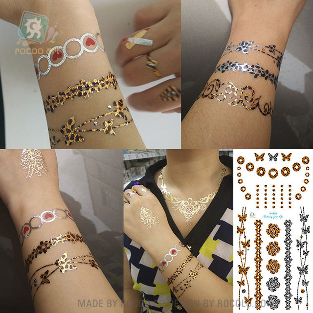225f8adab Nontoxic hot tattoo stickers waterproof Leopard print color fantasy bracelet  with beautiful patterns of small elements V4518