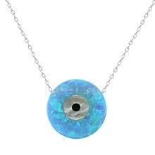 Luz Azul Ópalo Collar de la Forma Redonda de Piedra Collares y Colgantes de Alta Calidad de 925 Collar de Plata Esterlina Joyería