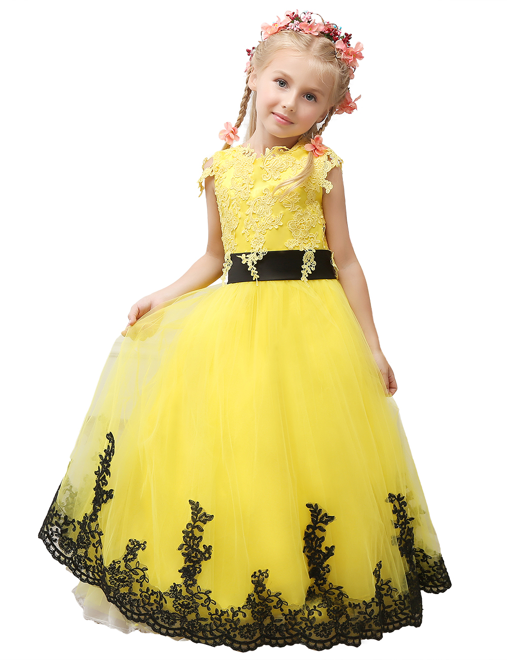 Pageant Dress Little Princess Glitz Ball Gown Lace Yellow Ball Gown