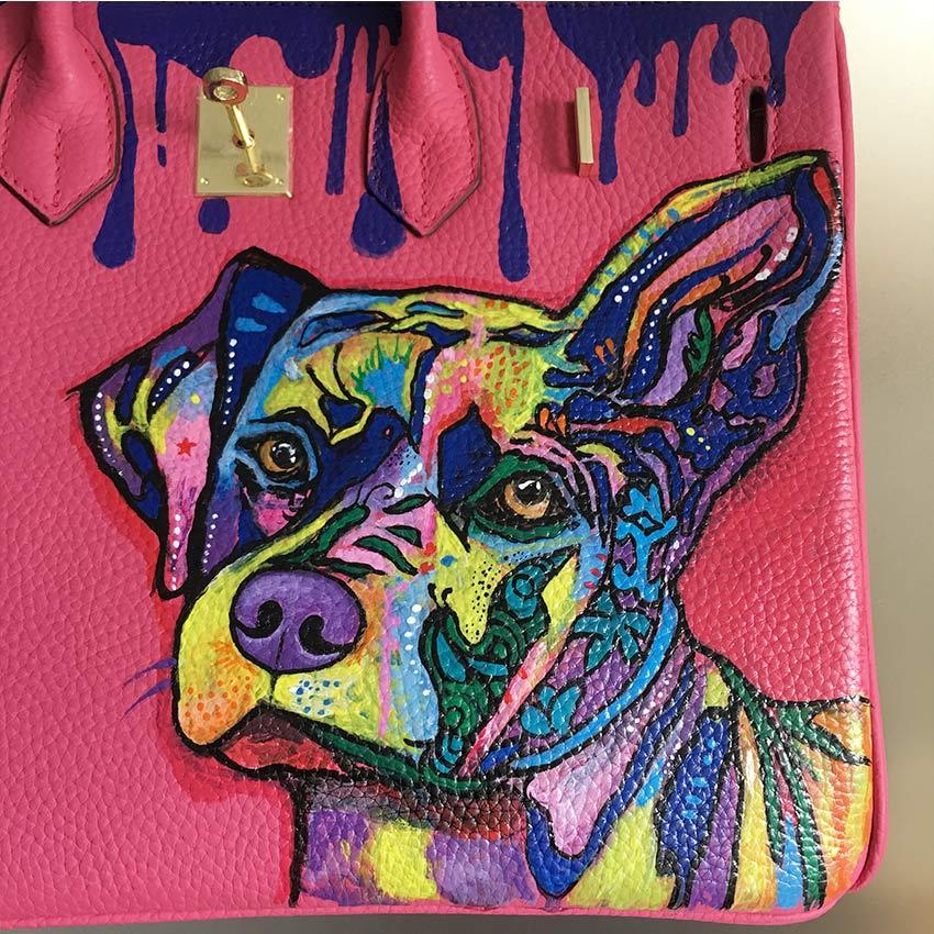 Öl Hand Damen Farbenfrohes Hund Malerei Für Designer Graffiti Neue 2018 Frauen Echtem Leder Totes Ankunft Kunst Taschen wRt0IP