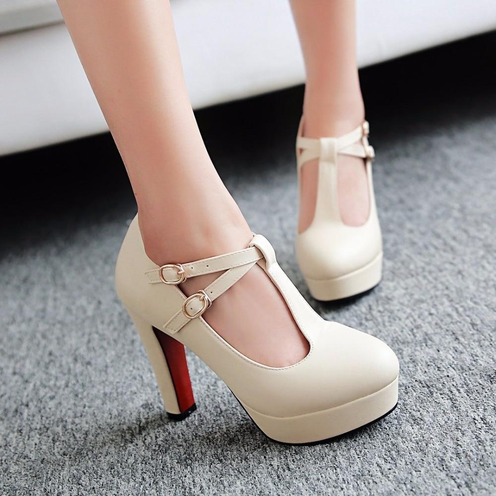 ФОТО Plus size 34-43 T-Strap Women Pumps 2017 Brand Thick Heel High Heels Platform Shoes Woman White Wedding Shoes pink black heels