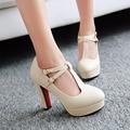 Plus size 34-43 T-Strap Women Pumps 2017 Brand Thick Heel High Heels Platform Shoes Woman White Wedding Shoes pink black heels