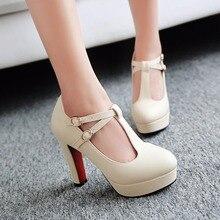 Plus size 34 43 T Strap Women Pumps 2017 Brand Thick Heel High Heels Platform Shoes