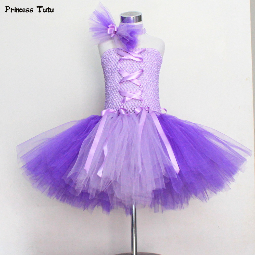 Princess Rapunzel Tutu Dress Knee Length Children Birthday Party Dance Dress Cosplay Halloween Costume for Girl Kids Tulle Dress princess moana tutu dress for girls birthday party dress up children lace tulle flower girl dress kids halloween cosplay costume