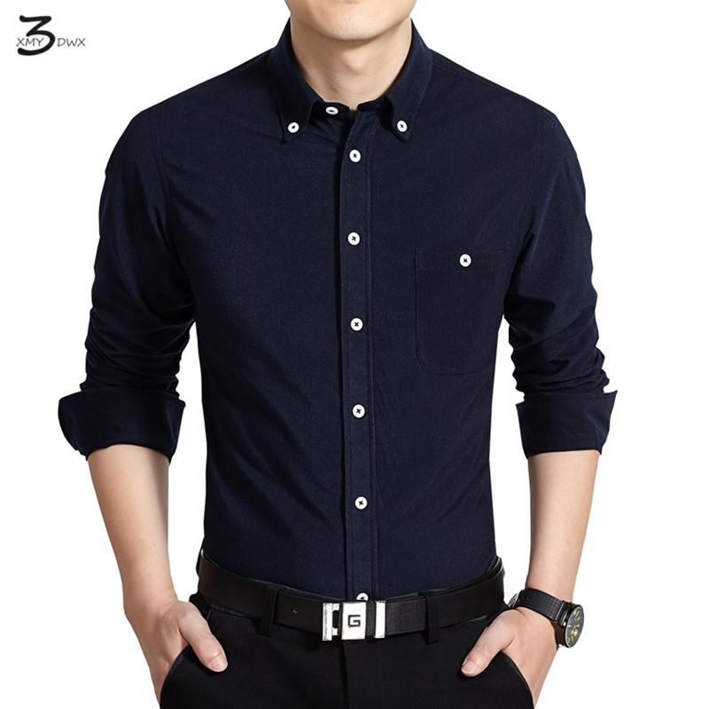 XMY3DWX Men long sleeve shirt products Sell like hot cakes men's fashion business leisure pure color corduroy shirt/size S-5XL